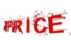 "The word ""price"" shatters into small pieces that disappear on a white background - stock footage"
