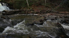 Small waterfall pan from middle of river Stock Footage