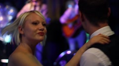 Young Couple Dancing to Band at Wedding HD 4 - stock footage