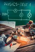 Study of electric current in the physics laboratory Stock Photos