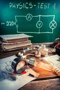 experience in physics laboratory with bulb - stock photo