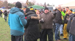 Football fans celebrating and tailgating in Hamilton Ontario Stock Footage