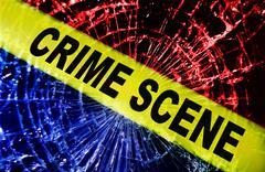 Broken window crime scene Stock Illustration