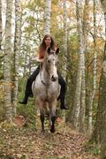 Young girl with appaloosa horse in autumn Stock Photos