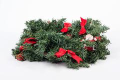 traditional christmas wreath on white background - stock photo