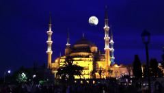 Blue Mosque and the moon - stock footage
