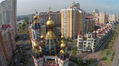 Residential area with a modern church in Kiev, Ukraine Stock Footage