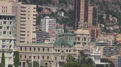 Aerial view Casino Palace Monte Carlo building landmark sunny day iconic place  Stock Footage
