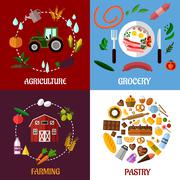 Stock Illustration of creative food products concept flat infographics design