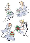 bride in gown holding flower bouquet - stock illustration