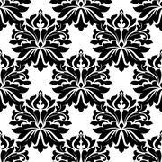 Stock Illustration of attractive black and white gothic floral pattern