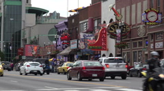 zoom, nashville bars and traffic on broadway, tn, usa - stock footage