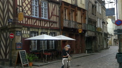 Half timbered buildings - Rue du Chapitre - Rennes France Stock Footage