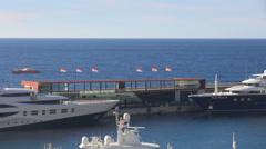 Timelapse Quai Rainier 3 Hercule Port Monaco city luxury yacht La Condamine day Stock Footage