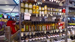 Deli from the Isle Bornholm sold from a shop in copenhagen food market Stock Footage