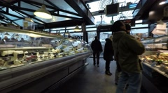 Market Halls in Copenhagen - shopping deli of all kinds Stock Footage