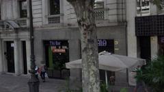 Barcelona city street walkway restaurants POV 4K 047 Stock Footage