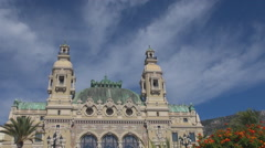 Beautiful Monte Carlo iconic building Casino Palace blue sky sunny day tourism  Stock Footage