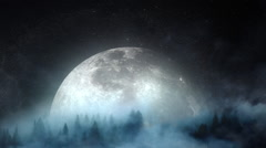 Forest moon rise Stock Footage