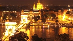 Timelapse of the panorama of Budapest at night Stock Footage