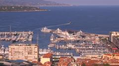 Timelapse boat sailing La Condamine port Monaco cityscape day famous luxury bay Stock Footage