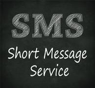 chalkboard illustration of sms -  short message service - stock illustration