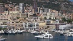 Timelapse Monte Carlo cityscape La Condamine port cruise sailing day luxury bay Stock Footage