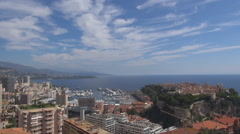 Aerial view Monaco cityscape Monte Carlo downtown famous coast resort landmark  Stock Footage