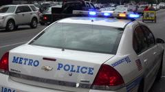 us police car with flashing lights, usa - stock footage