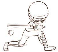 A cricket player - stock illustration