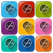 Buttons with no smoking signs Stock Illustration