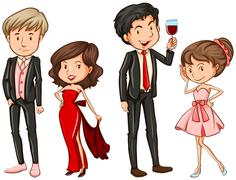 People in their formal attires Stock Illustration
