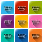 Stock Illustration of Buttons with grocery baskets