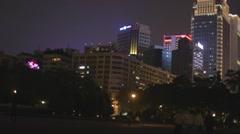 Sun Yat sen building at night - flying kite Stock Footage