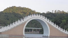 Beautiful Chinese bridge - sunset Dahu Park Stock Footage