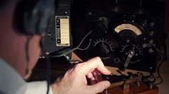 Vintage radio operator at his station Stock Footage