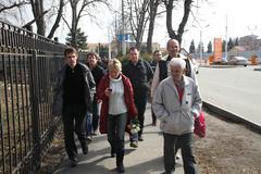 Evgeniya Chirikova near Krasnodar airport together with the delegation from Stock Photos