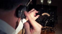 Vintage radio operator 4k Stock Footage