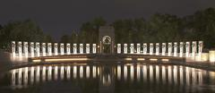 World War II memorial at night (no fountains) Stock Photos