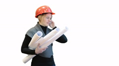 Woman architect talking by cellphone and holding blueprints, isolated on white Stock Footage