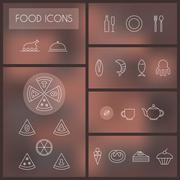 Set of food thin line icons for web and mobile. Stock Illustration