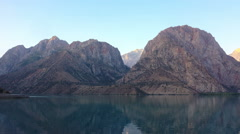 Mountain lake at sunrise. Time Lapse. Tajikistan, IskanderKul Stock Footage
