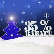 Christmas tree 35 percent rabatt discount blue Stock Illustration