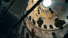 The Church of the Holy Sepulchre inside the Edicule Stock Footage