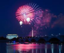 Fireworks over Lincoln Memorial and Washington Monument - stock photo