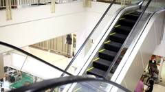 Moving escalator with stairs in big mall. HD. 1920x1080 Stock Footage
