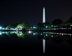 Washington Monument reflection at night - stock photo