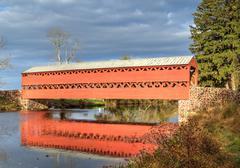 Sachs covered bridge in bright sun Stock Photos