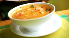 Thai soup, Shrimp And Mixed Vegetable in orange Spicy tamarind and spice Soup. Stock Footage