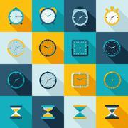 Clock icon flat set Stock Illustration